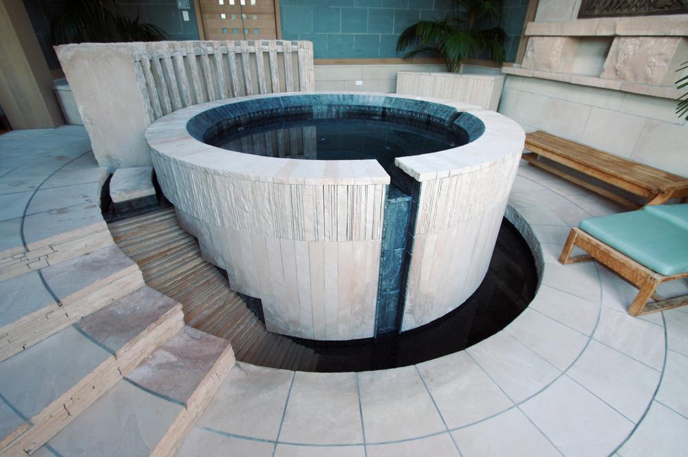 wood sided hot tub